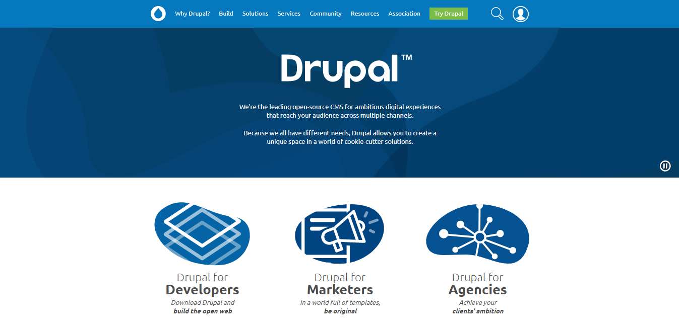 drupal vs wordpress homepage