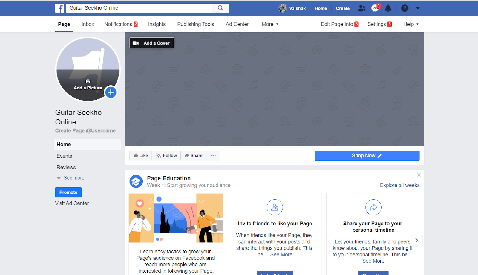 Create a Facebook page for your online academy