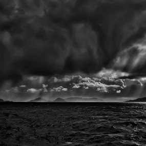 Storm at sea by Daniel Schwabe - Landscapes Weather ( clouds, chile, strait of magellan, b&w, patagonia, pwcfoulweather, sea, storm, rain )