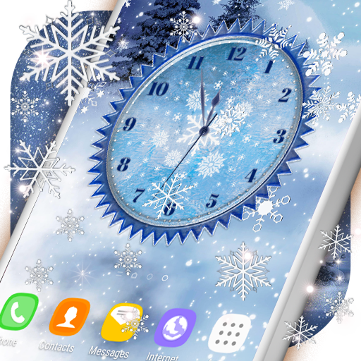 Winter Snow Clock Wallpaper