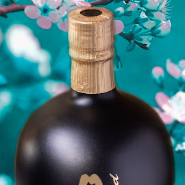 Sake by Burdell Edwin - Food & Drink Alcohol & Drinks ( rice wine, pink flowers, flowers, pink, japan, black, gold, cherry blossoms, japanese, blue, rice winge, sake, wine )