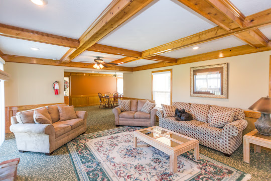 Clubhouse plush seating area with patterned carpet, beams on ceiling, windows with blinds, dog on the couch
