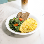 4 Eggs Omelette with Kale Salad
