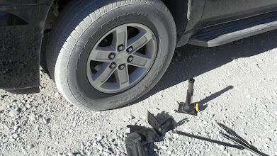 Photo: Hissing tire. On the way to Racetrack Playa. Photo by Sidney Burns.