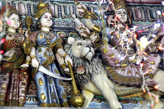 Photo: Year 2 Day 135 -  Figures on a Portico of a Temple in Little India