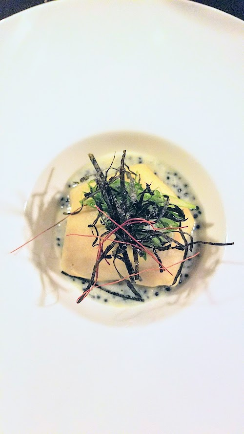 Holdfast Dining New Year's Eve Dinner, crepe with crab and uni puree with a caviar and champagne butter and a seaweed salad with chili thread
