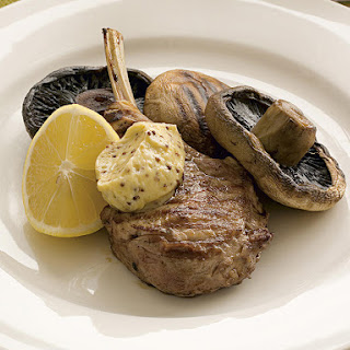 Veal with Portobello Mushrooms, Rice and Garlic Mustard Butter
