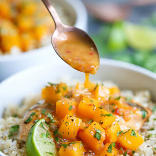 Mango Chicken with Coconut Rice.
