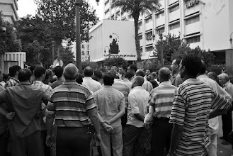 Photo: Striking public transportation workers gather outside a government office in downtown Cairo, Egypt