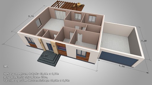 Dom gotowy MP1 - Rzut parteru - dach kopertowy, garaż dwustanowiskowy