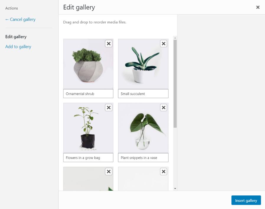 A sample of the Edit Gallery screen in WordPress.