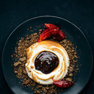 Soft Meringue S'mores Crumble with Blood Orange.