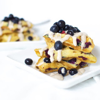 Blueberry Waffles with a Cinnamon Cream Cheese Frosting.
