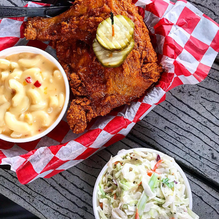The medium spiced Hot Chicken with mac & cheese and cole slaw on the sides at Hattie B's Hot Chicken.