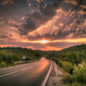 Into the light by Branko Meic-Sidic - Transportation Roads ( clouds, hdr, dramatic, croatia, sunrise, road, zloselo, pirovac, #GARYFONGDRAMATICLIGHT, #WTFBOBDAVIS )