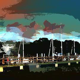 by Edward Gold - Digital Art Things ( sailboats, digital photography, sunset, artistic, scenic, digital art )