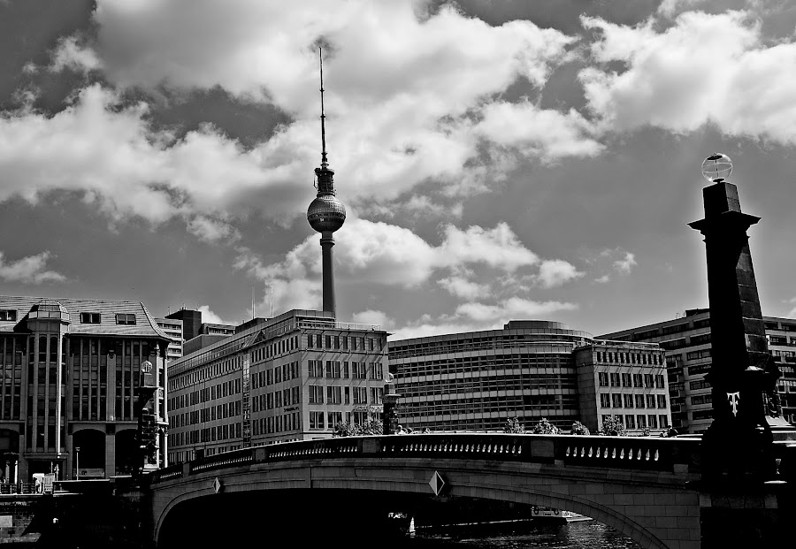 by Dragana Jankovic - Black & White Buildings & Architecture ( tower, black and white, buildings, berlin, bridge, architecture,  )
