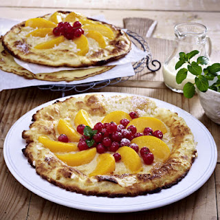 Sweet Rice Pancakes with Apricots and Red Currants.