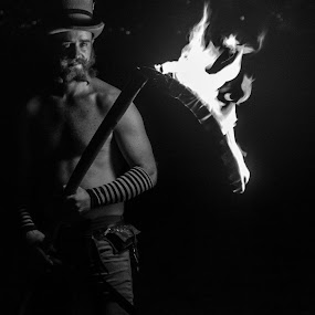 The Reaper Freed by Anthony Drake - Abstract Fire & Fireworks ( weapon, long exposure, night, people, fire,  )