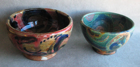 Photo: These are my every day cereal bowls. They were once test bowls, for pigment colored slips painted on under semi transparent high fire (cone 10/11) copper based glazes.