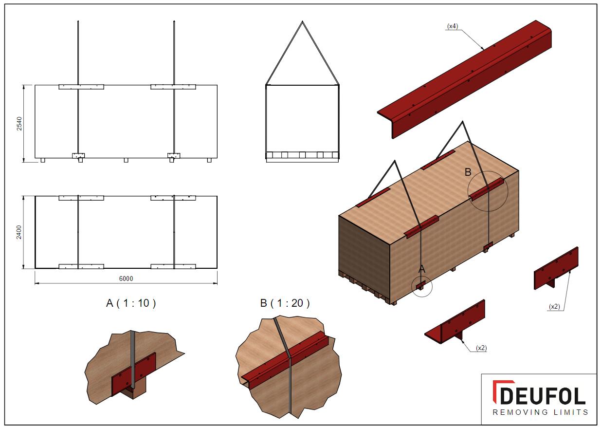 Set van 4 stalen beschermingshoeken - bodem kist - Type 3, 300mm