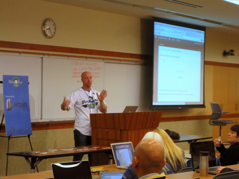 """Photo: @theandystratton presenting """"Accomplish it with Core: Galleries, Sliders and More"""" at WordCamp San Diego"""