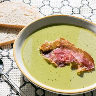 Spring Pea Soup with Crisp Prosciutto.
