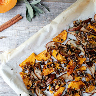 Roasted Pears & Butternut Squash With Sticky Balsamic Glaze.