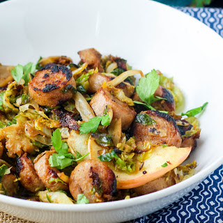 Chicken Sausage With Sautéed Brussels Sprouts and Apples.