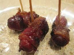 Bacon wrapped mini sausages