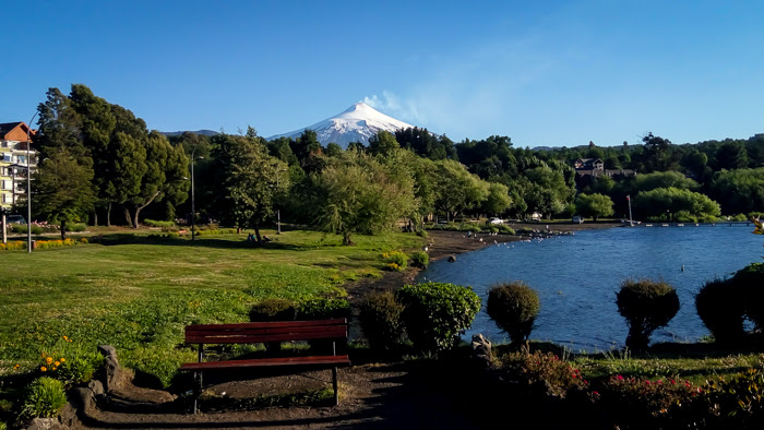 Volcan Villarrica as seen from the city of pucon in chile