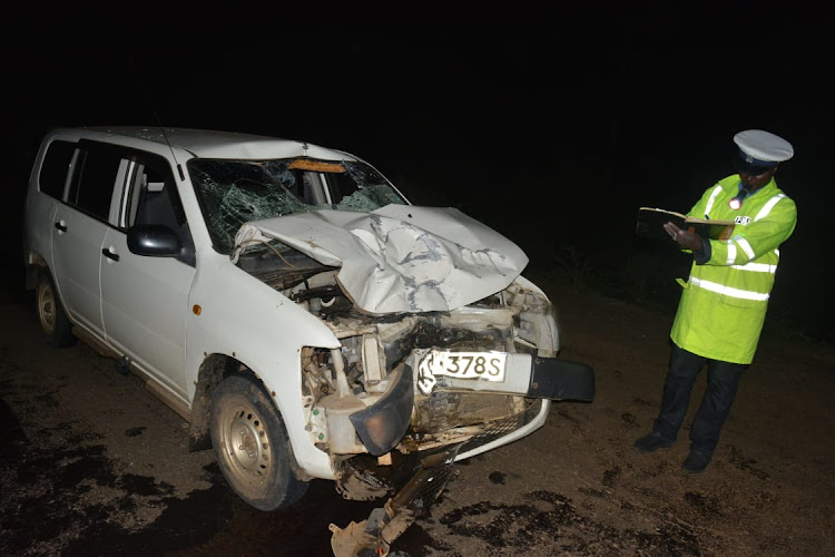 The Probox involved in the road accident which claimed the life of Kalenjin musician Amon Kipkirui 'Rhino Kaboom' along the Emining-Eldama-Ravine road on October 5, 2020.