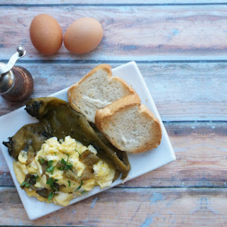 Soft Scrambled Eggs with Hatch Chiles.