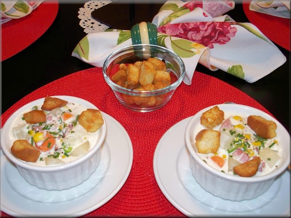 Ladle chowder in bowls, garnish with chopped chives and garlic flavored croutons.  Serving...