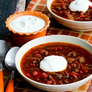Instant Pot Low-Carb Goulash Soup with Ground Beef and Peppers.