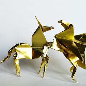Origami by Anika McFarland - Artistic Objects Other Objects ( pegasus, foil, unicorn, gold, origami,  )