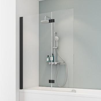 Pare-baignoire 130 cm, 2 volets, style industriel, profilé noir