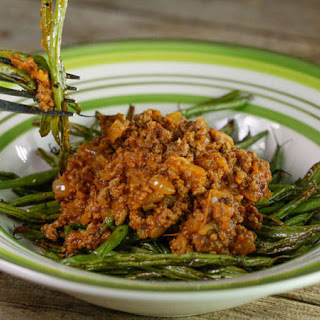 Bob Harper's Meat Sauce Over Roasted Green Beans.