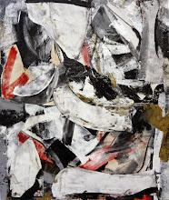"Photo: Glass Jaw (enamel, charcoal and thumbtacks on canvas) 52x44"" 2014"