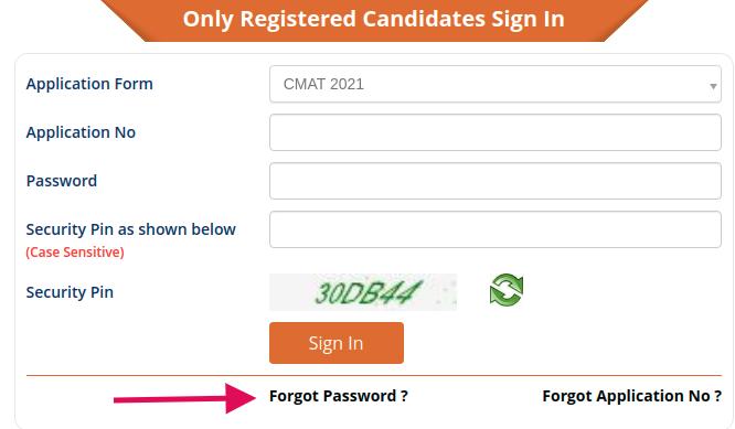 Reset CMAT 2021 Password