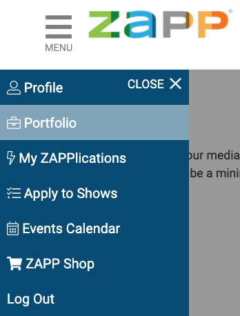 This image displays the menu from the left hand-side of the page. Displays the options: Portfolio highlighted.