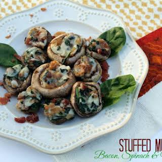 Bacon Spinach and Mozzarella Stuffed Mushrooms.