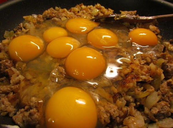 Add your eggs and cook through stirring to blend.
