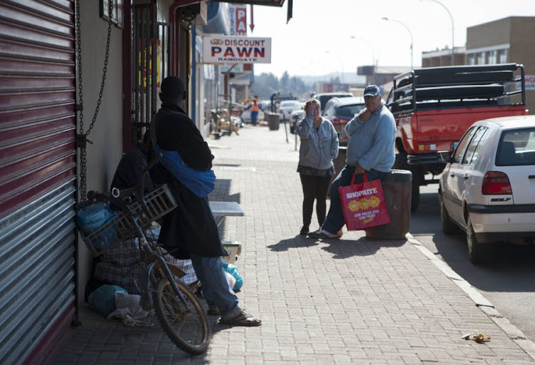 People in the streets of the struggling town of Randfontein, west of Johannesburg.