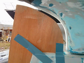 Photo: top of larger template centered on keel and viewed from starboard