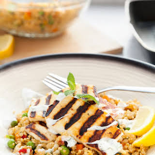 Grilled Halloumi Vegetable Couscous With A Yoghurt Mint Dressing.