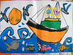 Photo: woz's painting in his lesson: song of fishes and birds over seas.