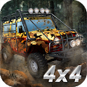 Offroad rally: driving 4x4 trucks icon