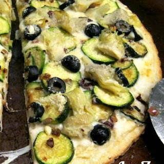 Artichoke Zucchini White Pizza