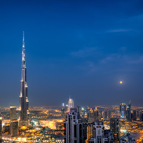Moonlit by Sebastian Tontsch - Buildings & Architecture Office Buildings & Hotels ( lights, dubai, uae, long exposure, cityscape, burj khalifa, downtown )